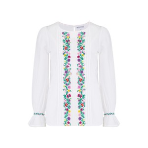 Pink City Prints Florence Blouse in White with Embroidery