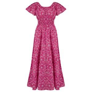 Pink City Prints Rah-rah Dress Spanish in Indigo Jungle in Pink