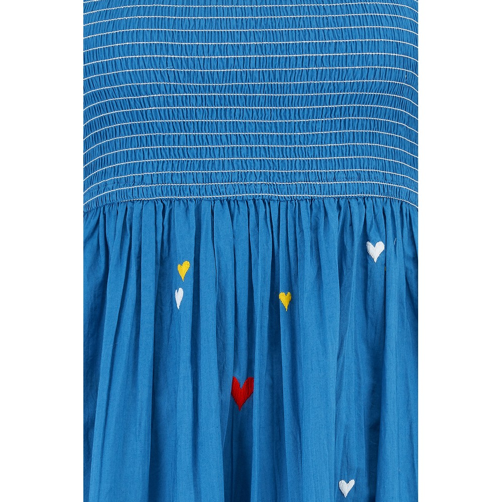 Pink City Prints Lolita long Embroidered dress in blue Blue