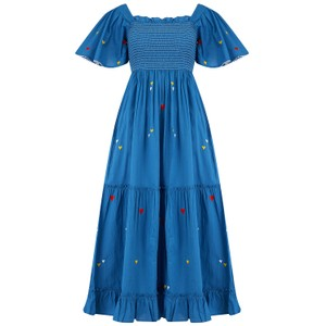 Pink City Prints Lolita long Embroidered dress in blue