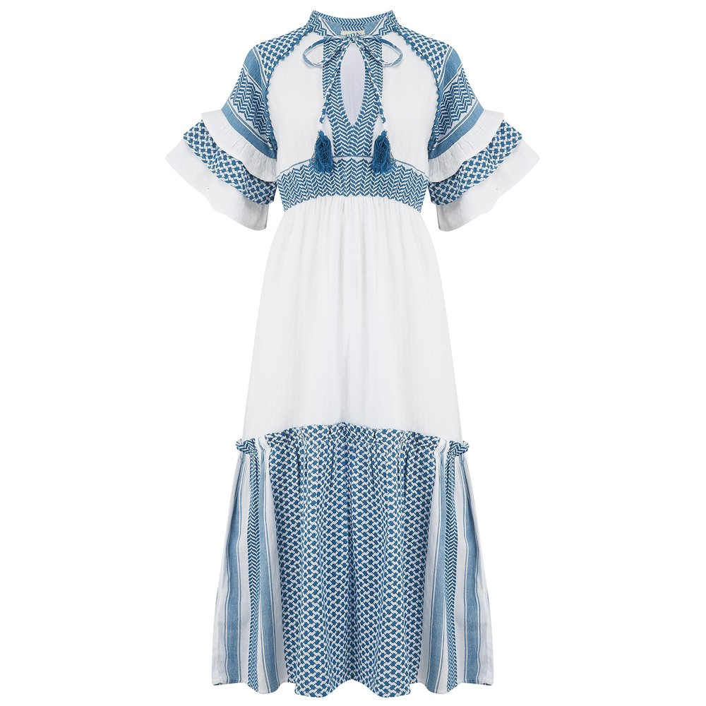 Cecilie Copenhagen Angela Dress in Blue and White Blue