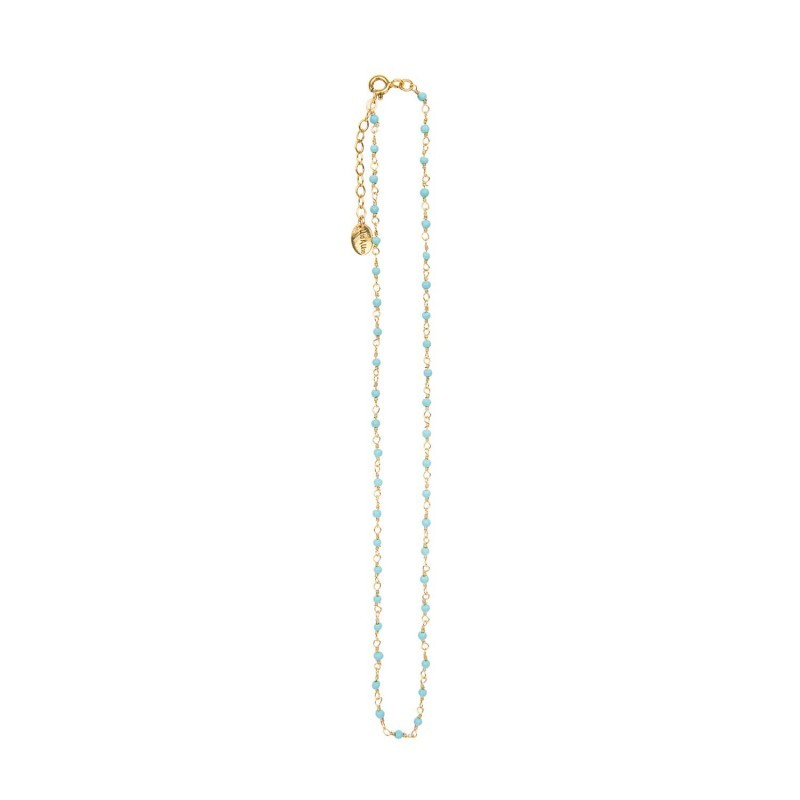 Une A Une India Necklace Turquoise - Indian Chain Brass Turquoise