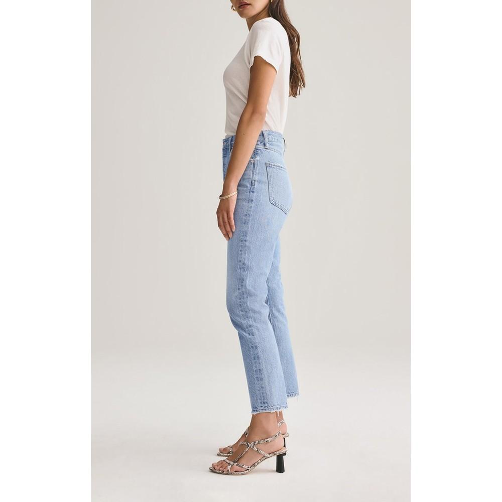 Agolde Riley High Rise Crop Jeans in Blur Light Denim