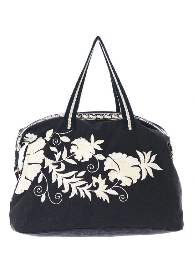 Mabe Osha Holdall in Black and Ecru Black