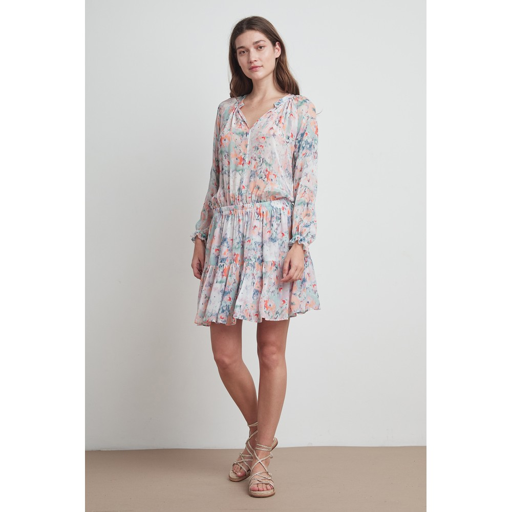 Velvet Leah Printed Dress in Watercolour Multicoloured