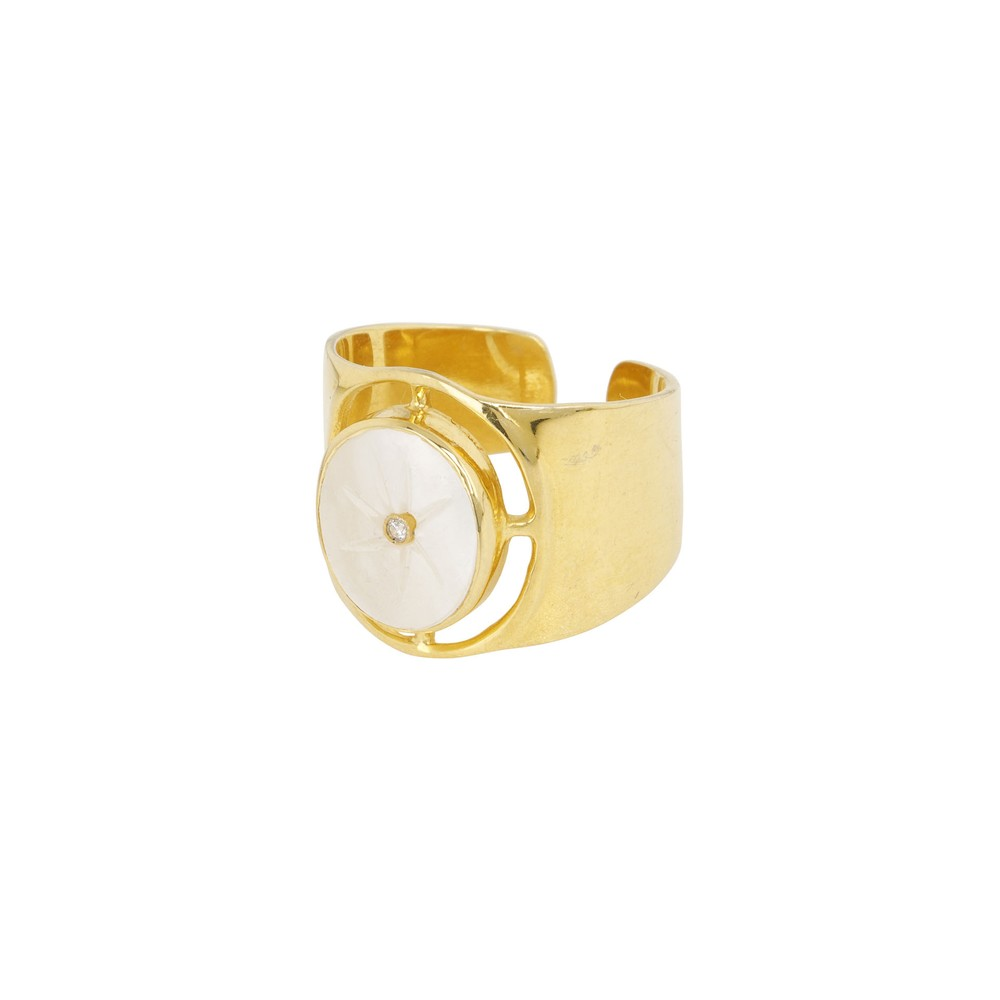 Une A Une Mother of Pearl Goa Ring White