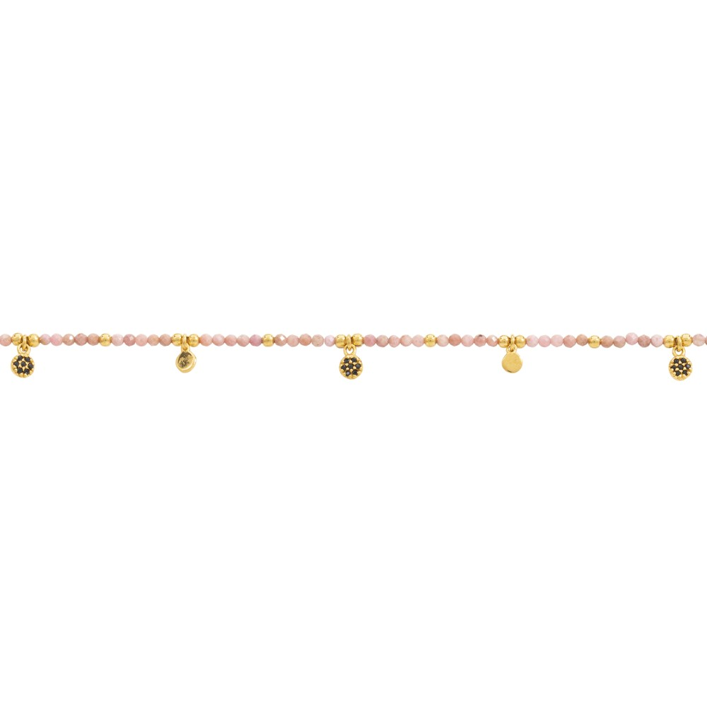 Une A Une Jaipur Rhodonite Flower Bracelet Pale Pink