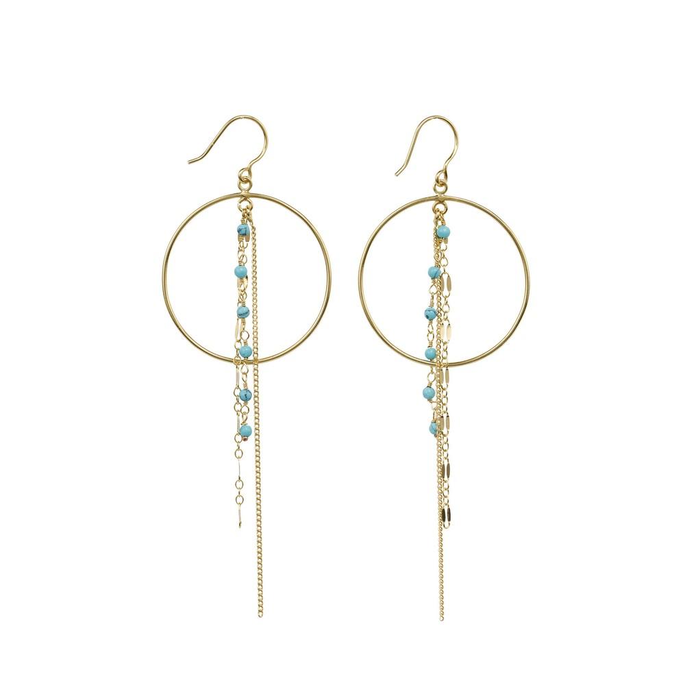 Une A Une 3-Chain Hoop Earrings Turquoise