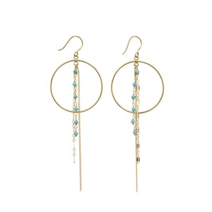 Une A Une 3-Chain Hoop Earrings in Turquoise