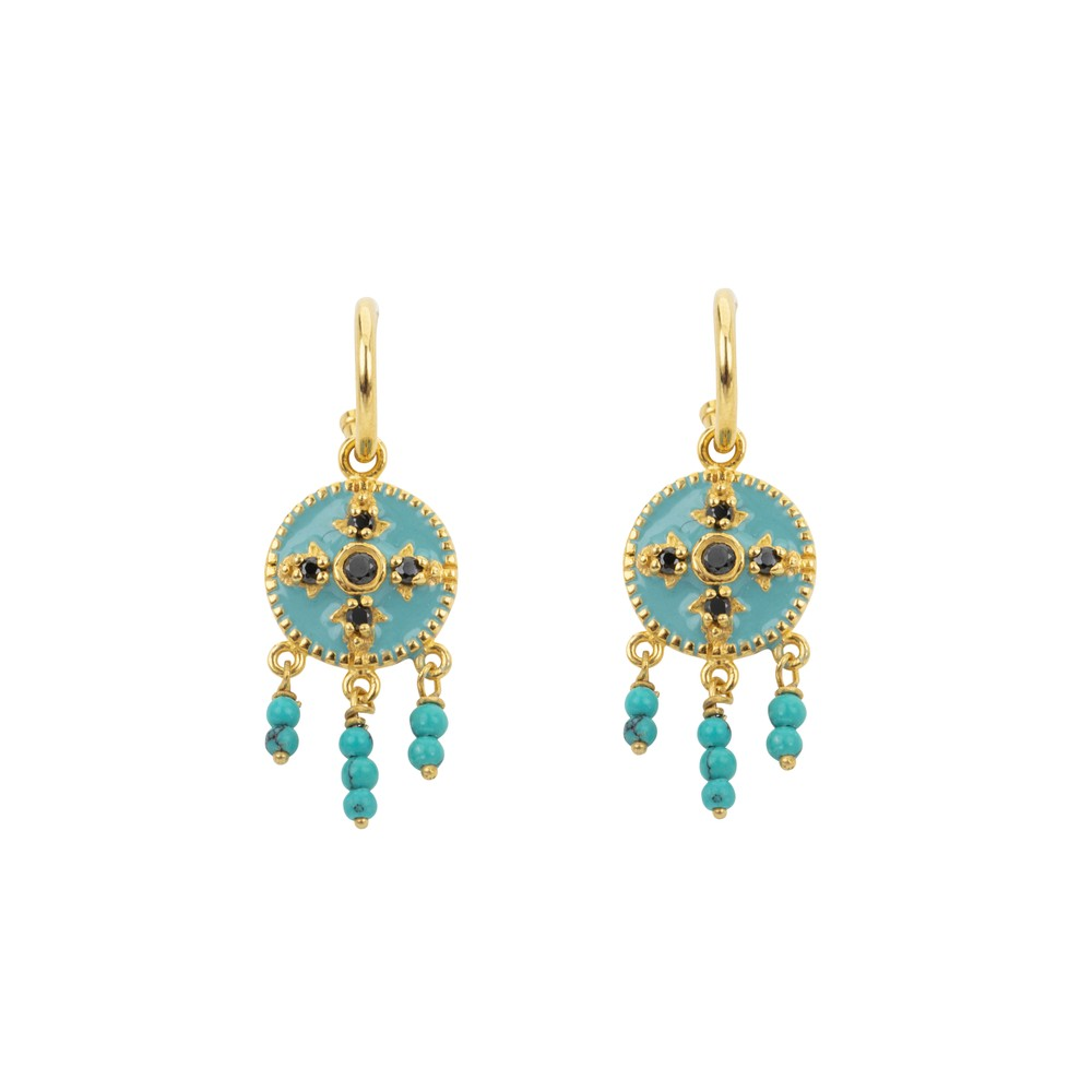 Une A Une Medieval Baroque Earrings Turquoise