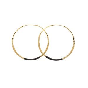 Une A Une Large Hoop Earrings Black and Beige