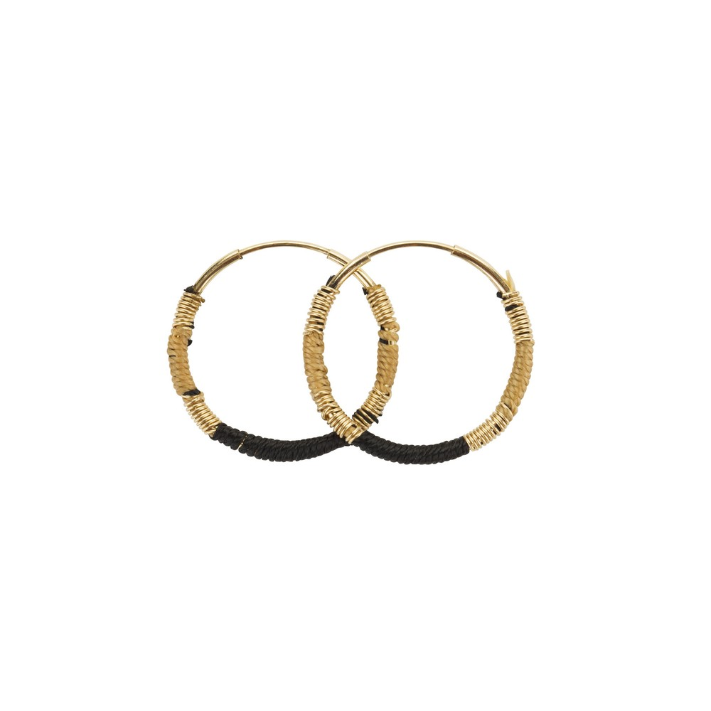 Une A Une Hoop Earrings Black and Beige Black