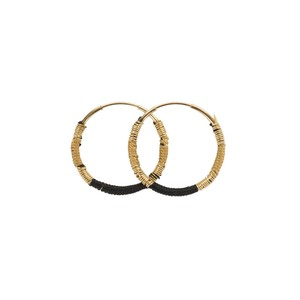 Une A Une Hoop Earrings Black and Beige