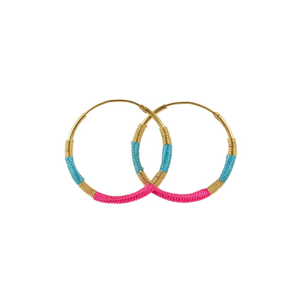 Une A Une Hoop Earrings Turquoise and Pink Turquoise
