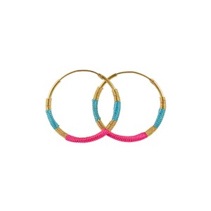 Une A Une Hoop Earrings Turquoise and Pink