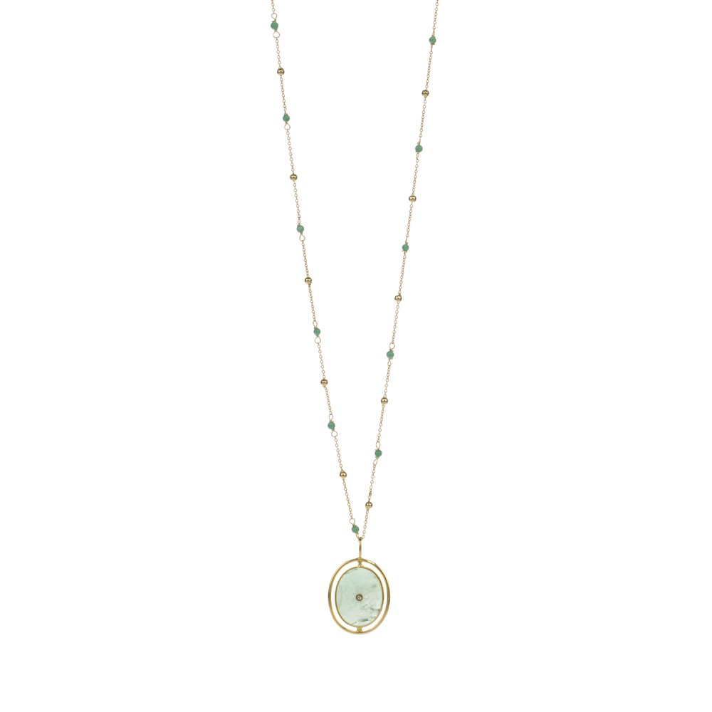 Une A Une Goa Medal Necklace Chryso Green