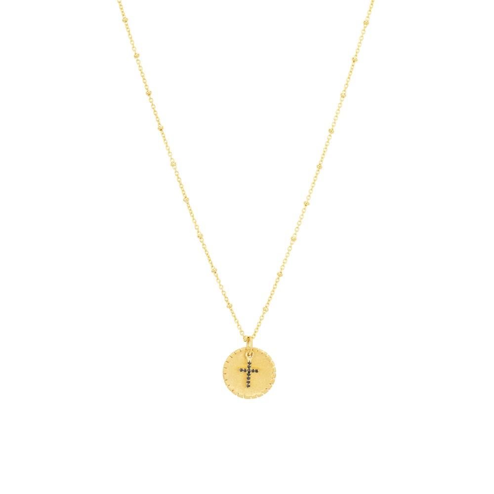Une A Une Cross Medal Necklace Black