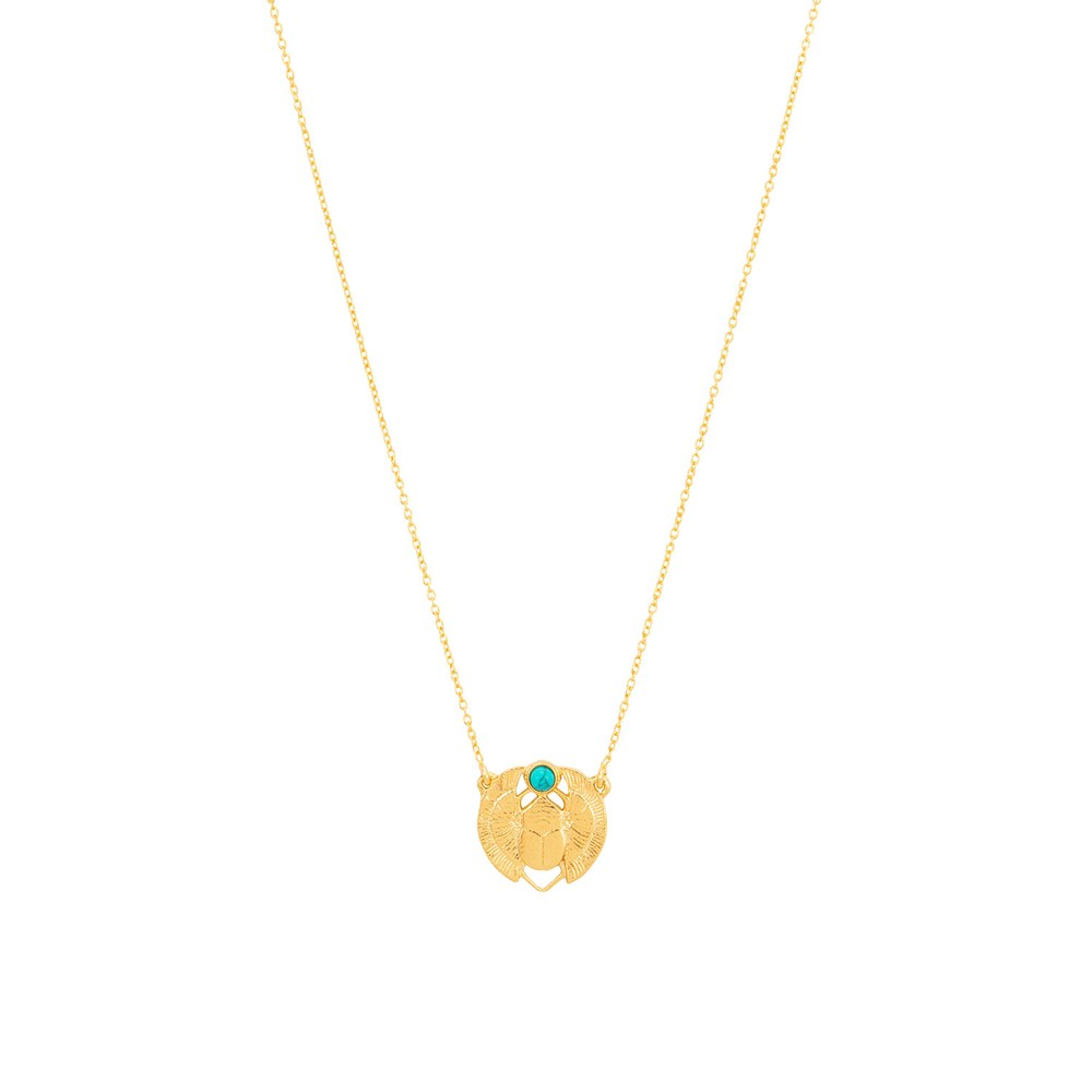 Une A Une Scarab Necklace Turquoise