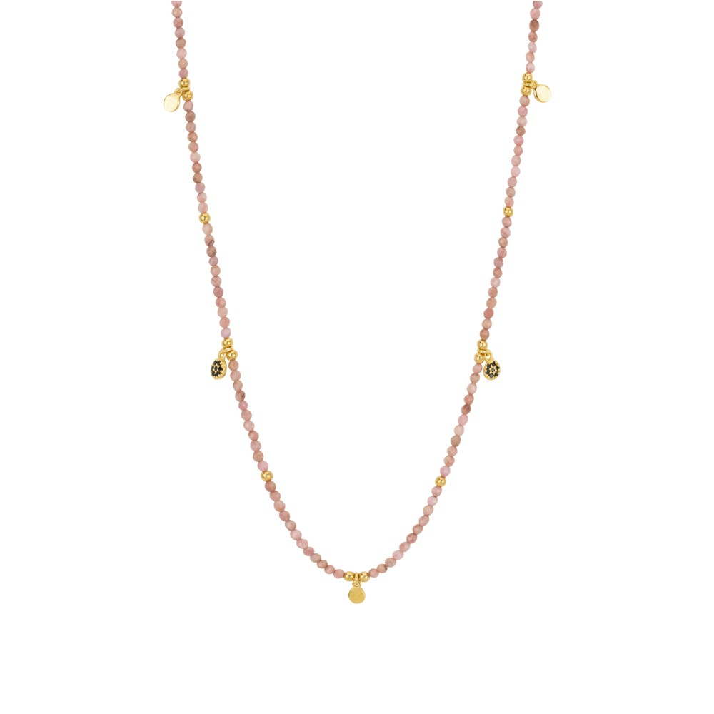 Une A Une Jaipur Necklace with Rhodonite Flowers Pink