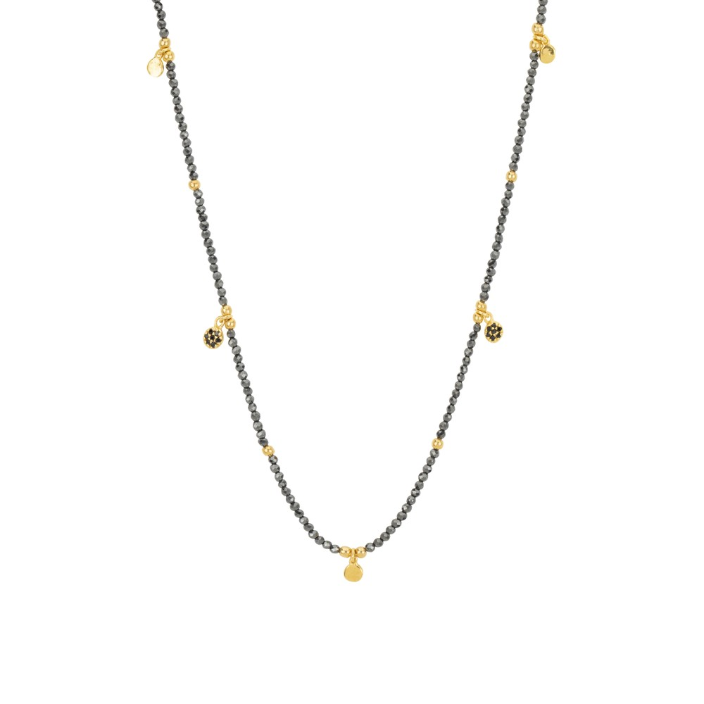 Une A Une Jaipur Necklace with Pyrite Flowers Grey