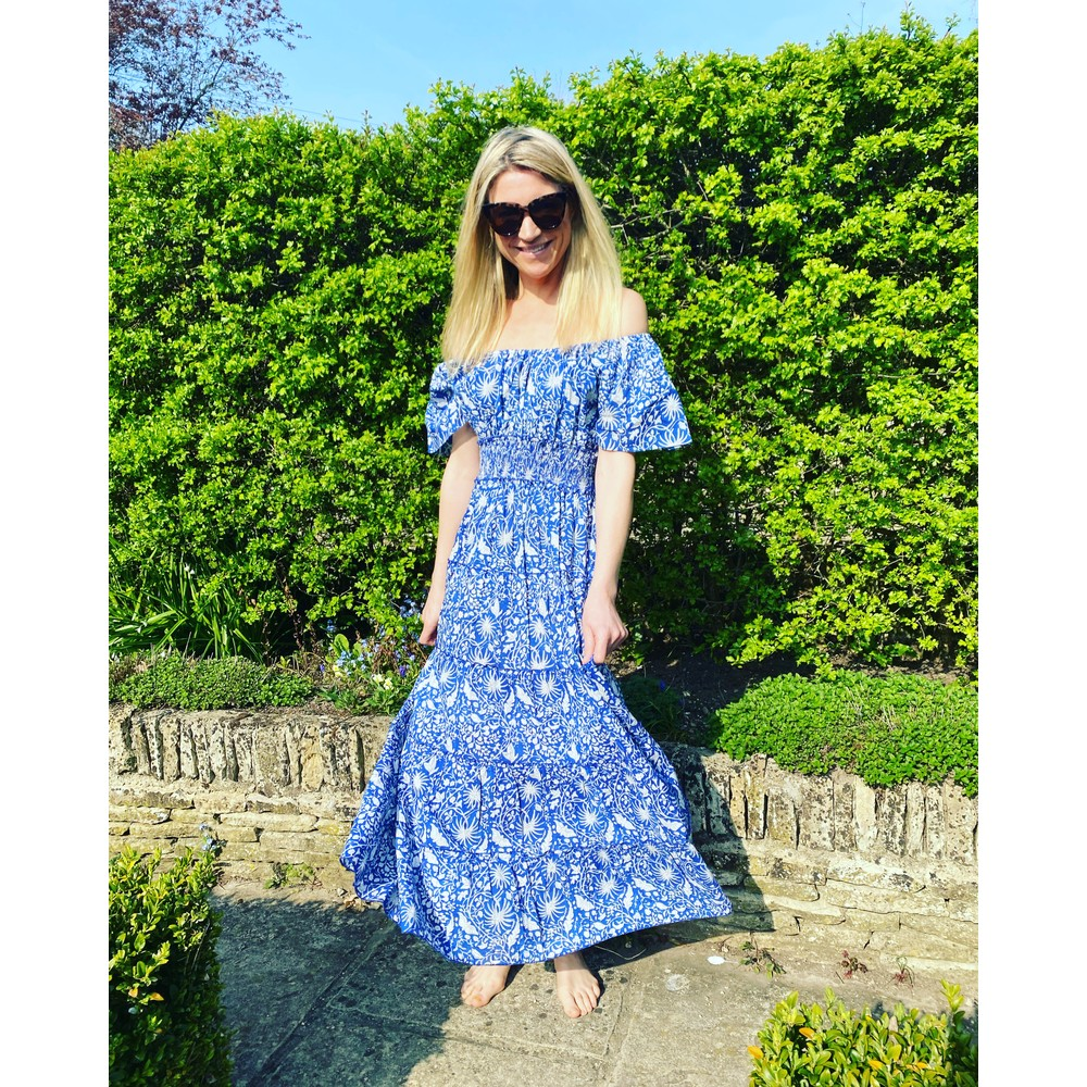 Pink City Prints Rah-rah Dress Spanish in Indigo Jungle Blue