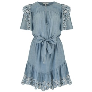 Joie Safia Eyelet Dress in Chambray
