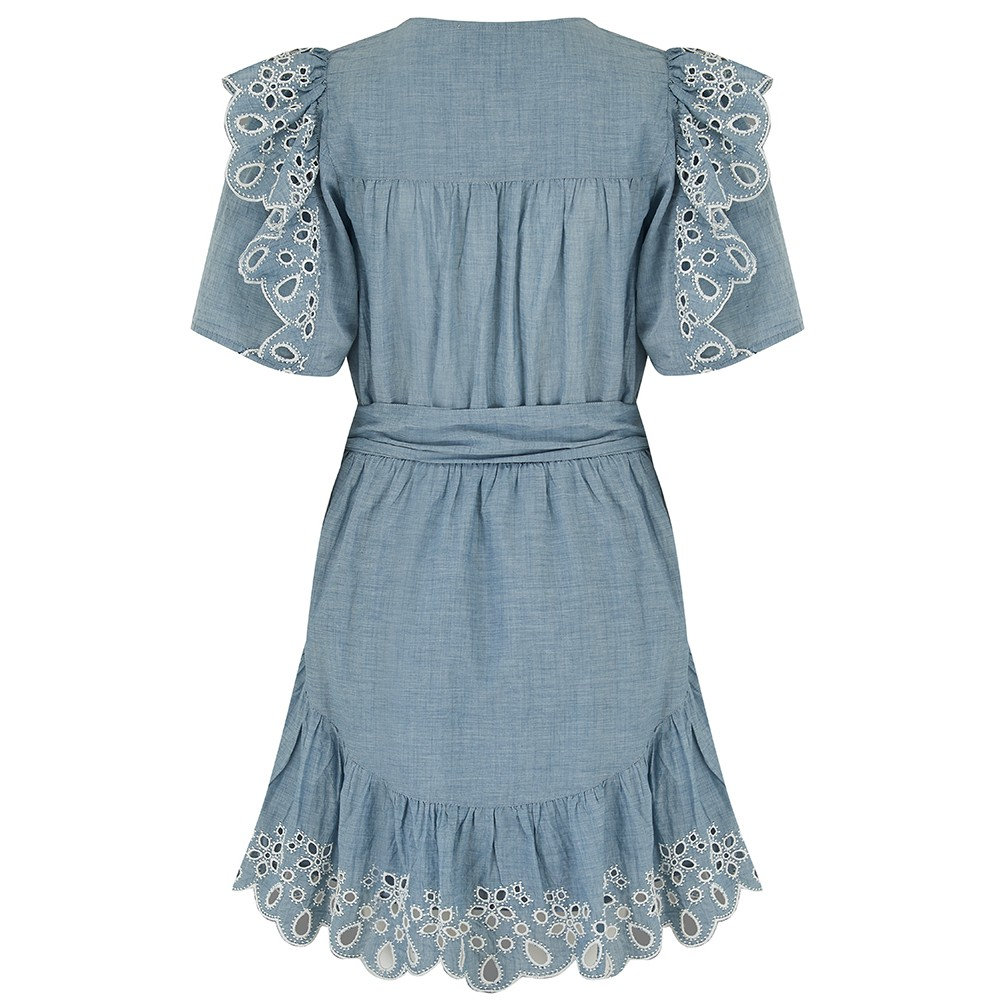 Joie Safia Eyelet Dress in Chambray Blue