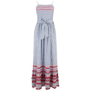 Rose & Rose California Ric Rac Sundress In Blue / White Stripe
