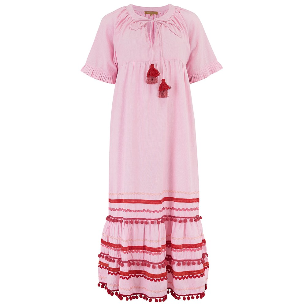 Rose & Rose Connecticut Ric Rac Midi Dress In Pink Pink