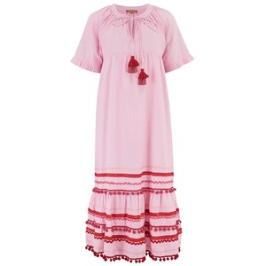 Rose & Rose Connecticut Ric Rac Midi Dress In Pink