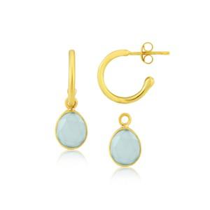 Auree Manhattan Gold and Aqua Hoop Earrings