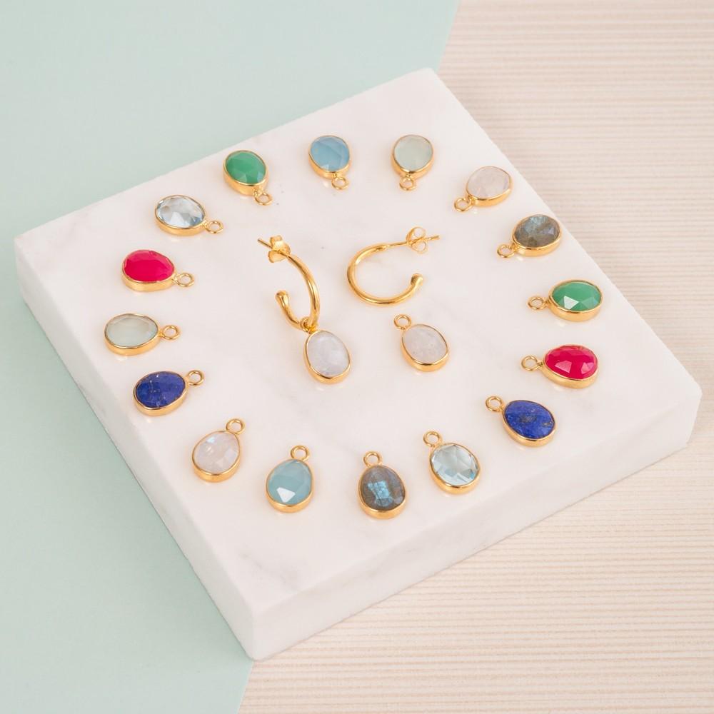 Auree Manhattan Gold and Aqua Hoop Earrings Bright Blue