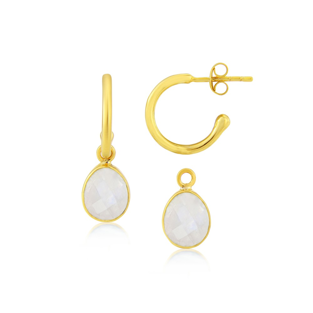 Auree Manhattan Gold and Moonstone Hoop Earrings White