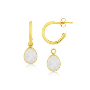 Auree Manhattan Gold and Moonstone Hoop Earrings