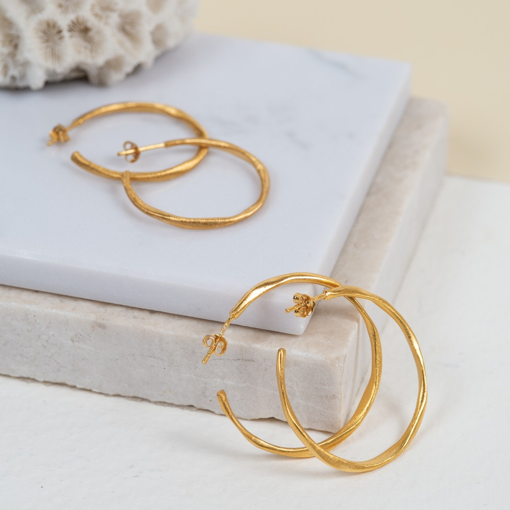 Auree Olivera Medium Gold Hoops Gold