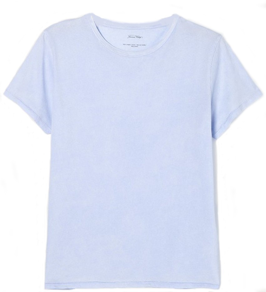 American Vintage Short Sleeve Round Necked Straight T Shirt Blue