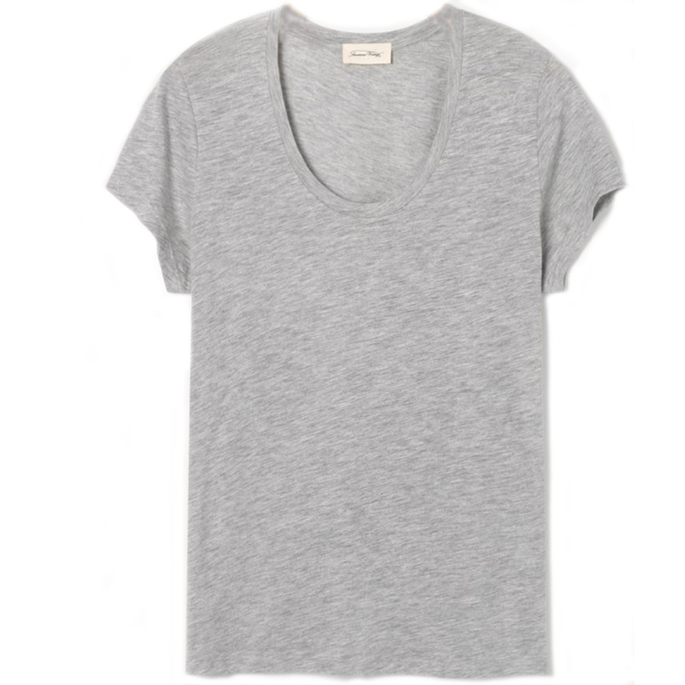 American Vintage Jacksonville Round Neck T Shirt Light Grey