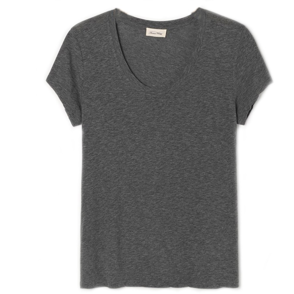 American Vintage Jacksonville Short Sleeve Round Neck T Shirt in Anthracite Anthracite
