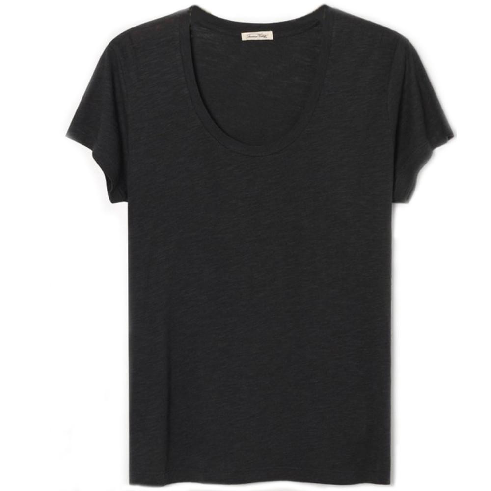 American Vintage Jacksonville Short Sleeve Round Neck T Shirt in Carbone Carbone