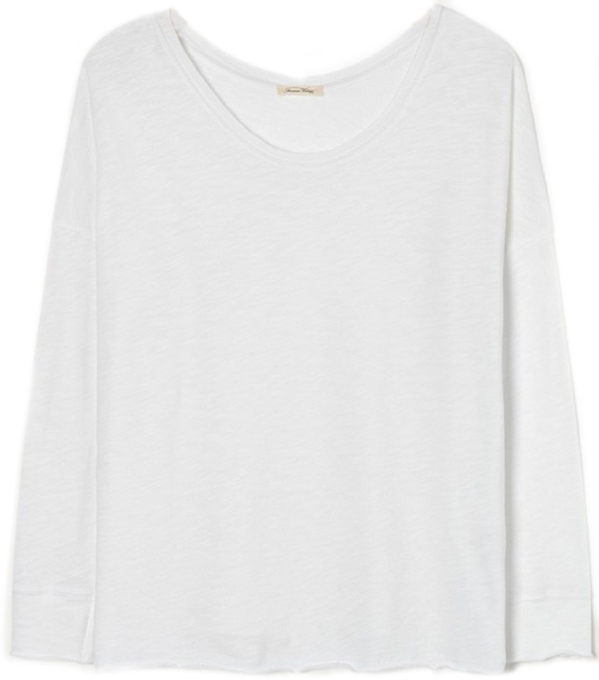 American Vintage Long Sleeved Crew Neck Top White