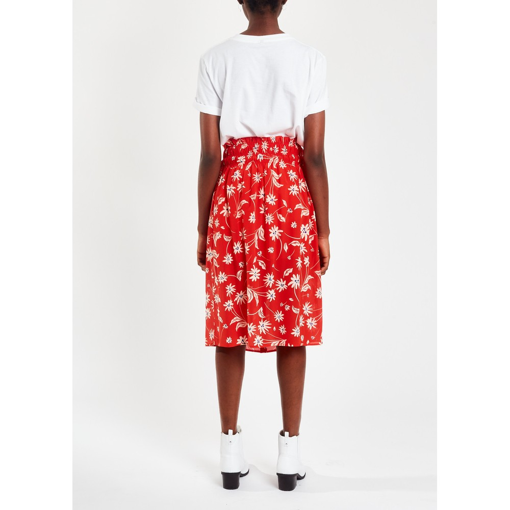 Pyrus Elise Printed Silk Skirt in Simple Flowers Red