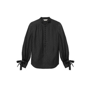 Rebecca Taylor Long Sleeved Cheetah Jacquard Blouse in Black