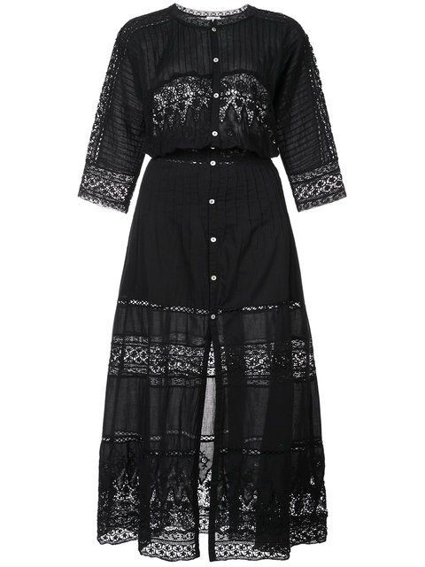 LoveShackFancy Beth Dress in Black Black