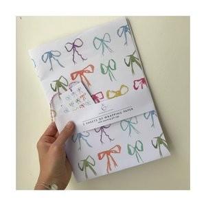 Edinburgh Letters Mini Bows Wrapping Paper Packs White