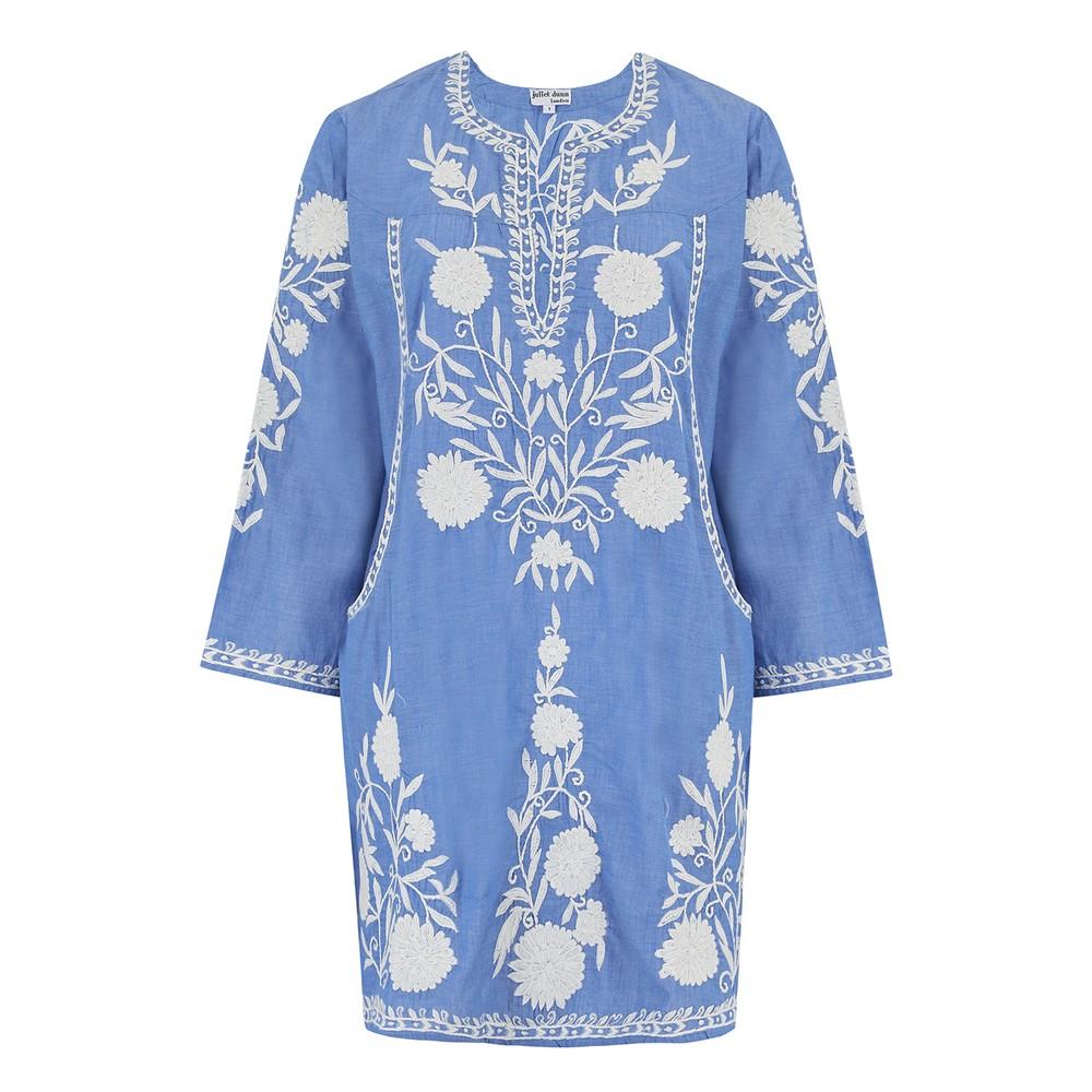 Juliet Dunn Chambray Pocket Shift Dress Blue