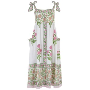 Juliet Dunn Poppy Print Tie Shoulder Dress