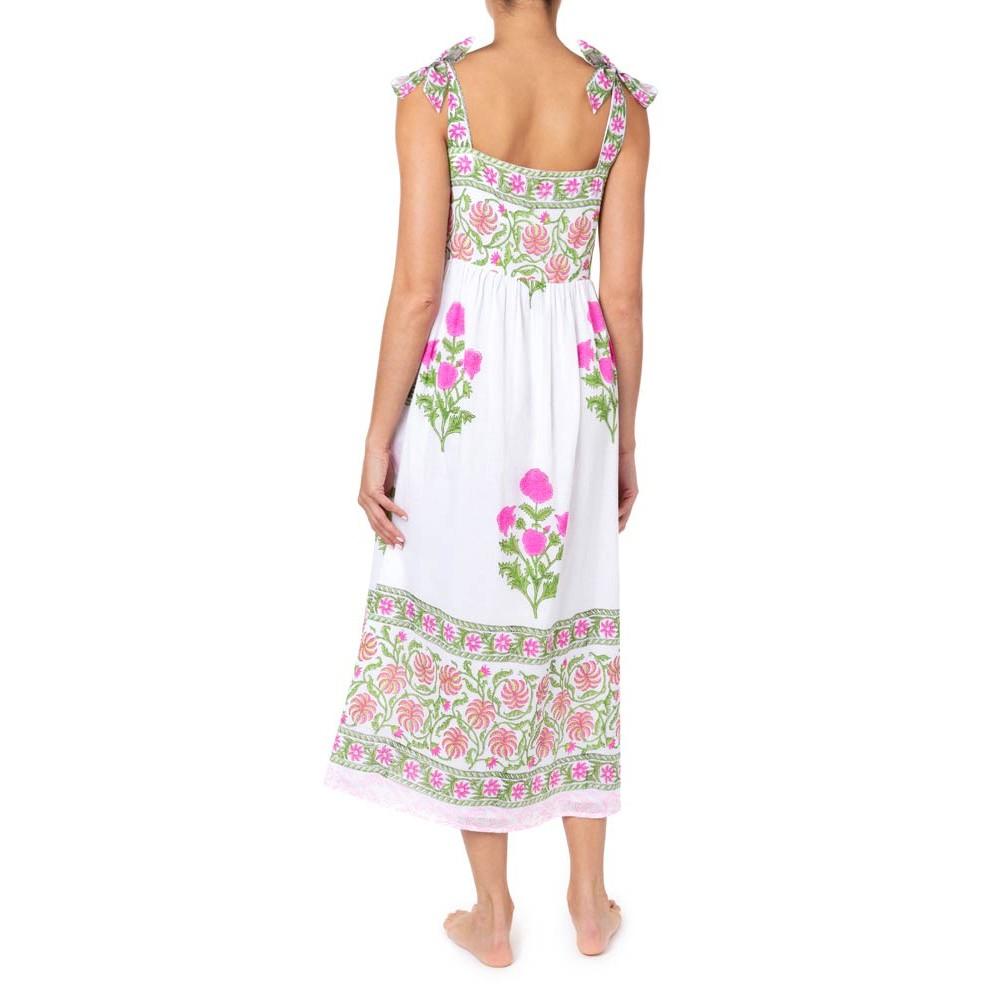Juliet Dunn Poppy Print Tie Shoulder Dress White