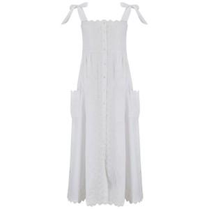 Juliet Dunn Poplin Tie Shoulder Dress with Ric Rac Embroidery