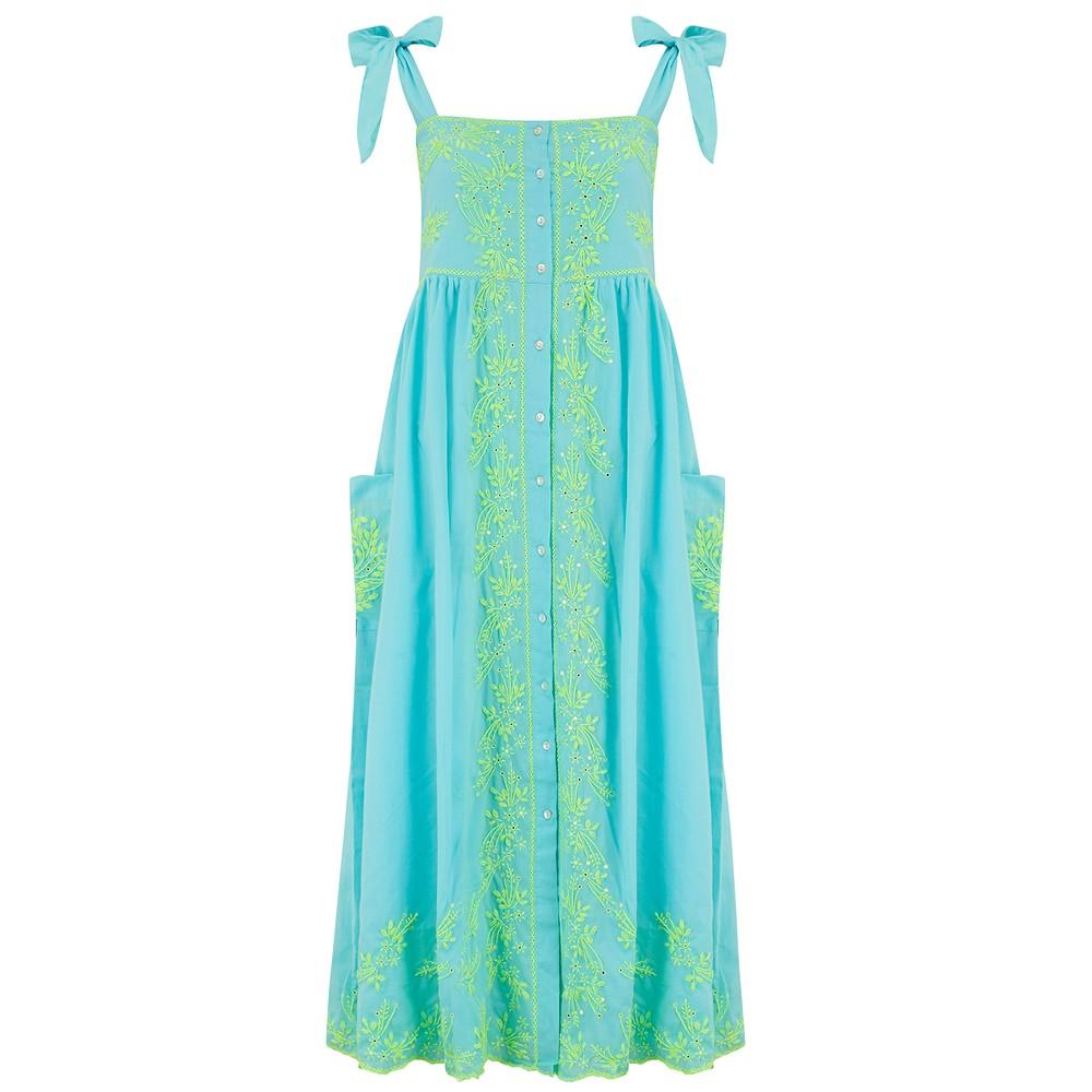 Juliet Dunn Lotus Embroidered Tie Shoulder Dress Blue