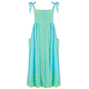 Juliet Dunn Lotus Embroidered Tie Shoulder Dress